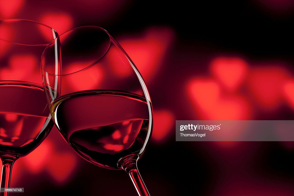 Romantic Celebration - Valentine's Day Wine Wineglass Red Love : Stock Photo