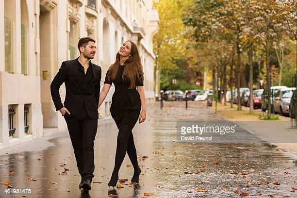 Romantic couple at Paris streets