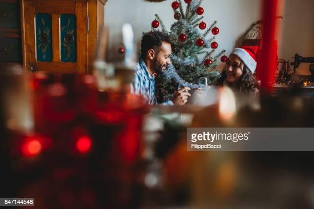 Romantic couple celebrating Christmas together