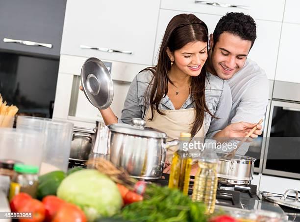 Romantic couple cooking