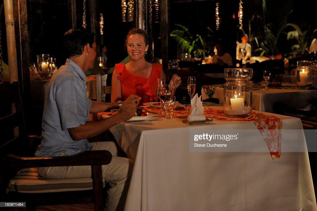 Romantic couple dining : Stock Photo