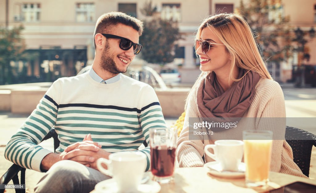 couple dating in cafe