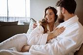 Romantic couple enjoying honeymoon and wellness treatments