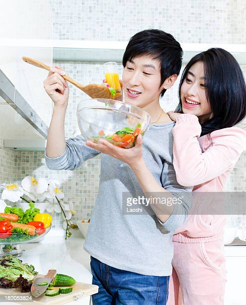 Romantic couple in the kitchen
