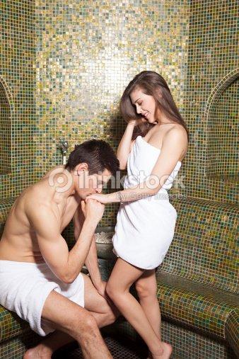 romantic couple in turkish bathroom stock photo