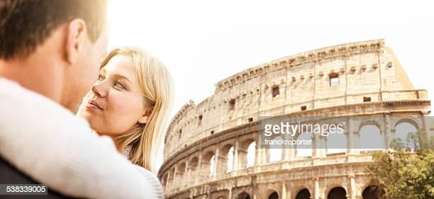 romantic couple kissing on Rome