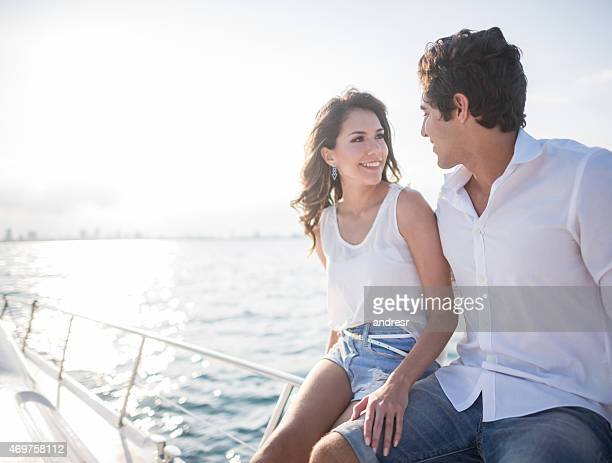 Romantic couple on a yacht