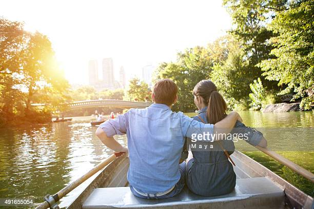 Romantic couple on boat