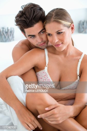 . Romantic Couple On The Bed Stock Photo   Getty Images