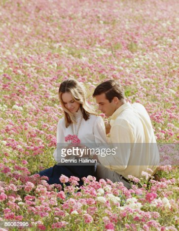 Romantic couple sitting in a field of wildflowers : Stock Photo