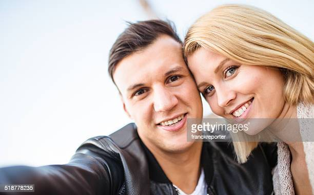 romantic couple taking a selfie togetherness