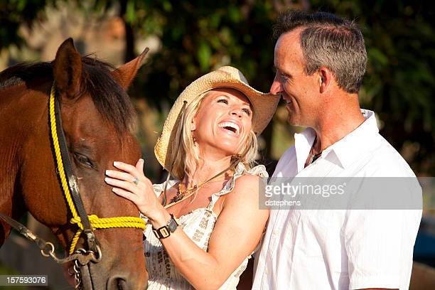 Romantic couple with horse