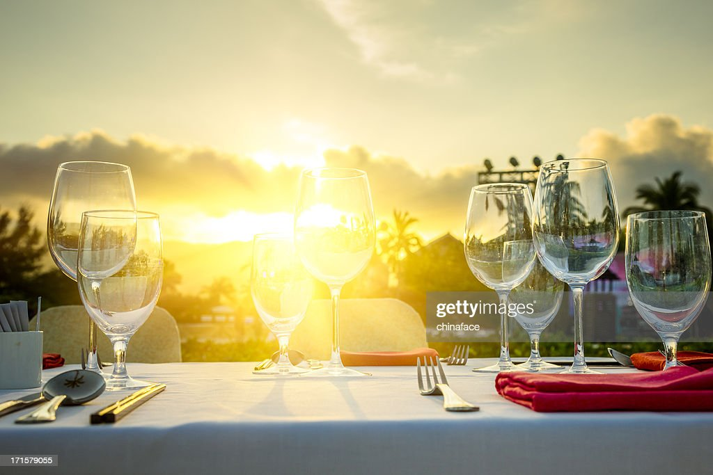 Romantic Dinner at beach in sunset