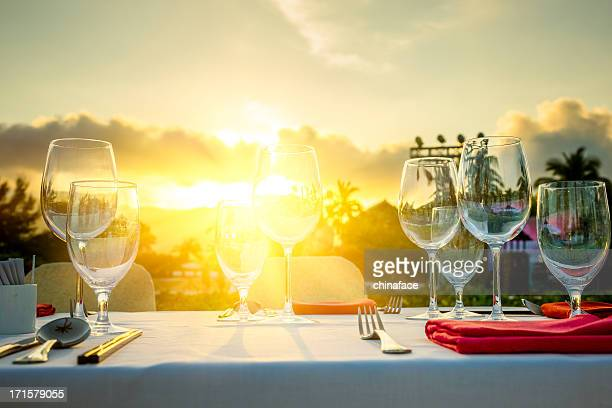 Romantic Dinner at beach in sunset