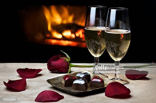 Soirée romantique au coin du feu