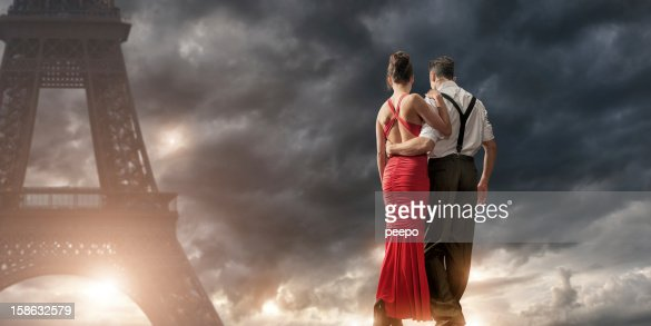 Romantic couple hetrosexual not kissing stock photos and for Romantic evening in paris