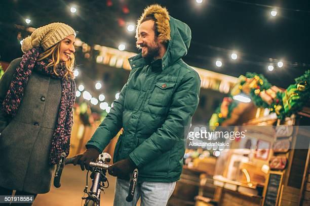 Romantic evening walk on Christmas