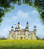 3D rendering of a romantic fairytale castle in an idyllic landscape framed by trees.