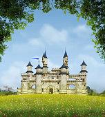 3D rendering of a romantic fairytale castle in an idyllic landscape framed by trees.