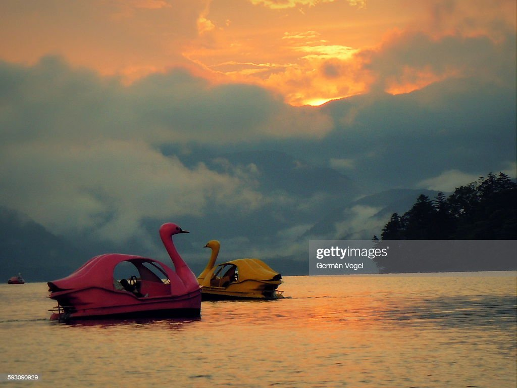 Romantic lake sunset for swan pedal boats couple