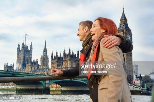 Romantic mature couple sightseeing, London, UK