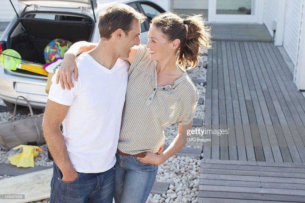 Romantic mid adult couple having fun on vacation : Stock Photo