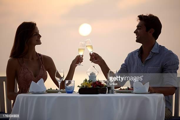 Romantic moments over dinner