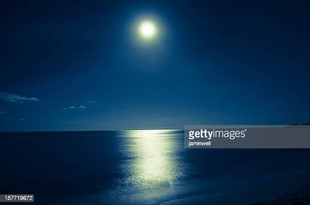 月明かりに照らされた海の上でのロマンティックな夜