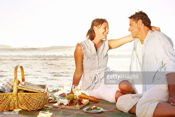 Romantic picnic at sunset