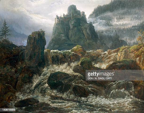 Romantic ruins with torrent painted by Johan Christian Clausen Dahl