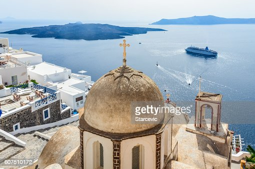 Romantic Santorini island with traditional Greek whitewashed architecture