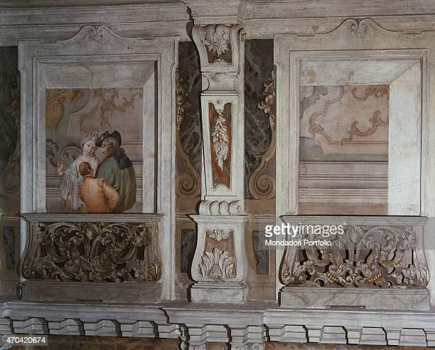 'Romantic Scene by Francesco Zugno c 1770 18th Century fresco Italy Lombardy Brescia Teatro Grande Whole artwork view Two architectural frames with...