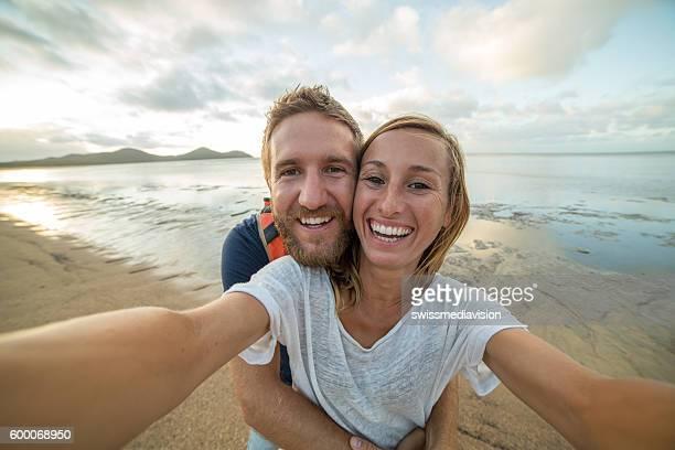 Romantic selfie on the beach