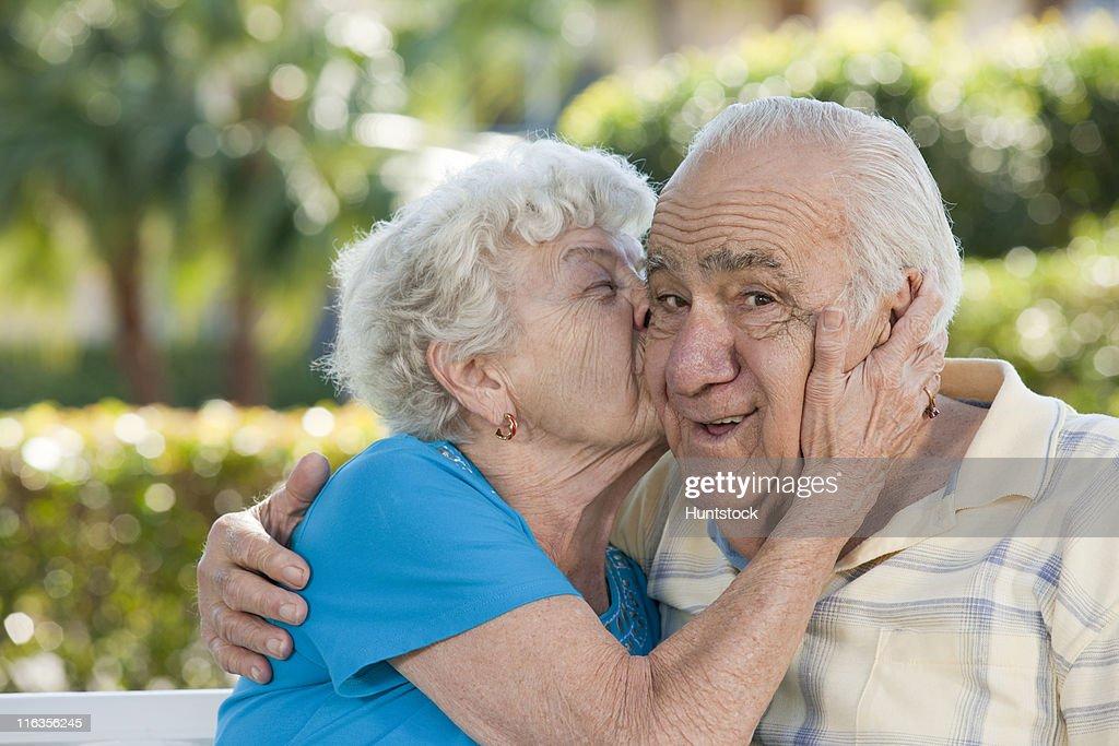Romantic senior couple in a park