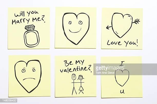 Romantic sticky memo notes