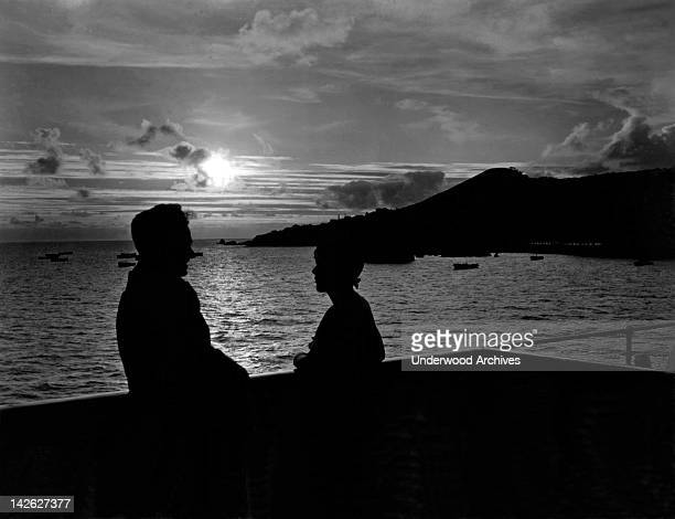 A romantic sunset at Funchal on the Portuguese archipelago of Madeira Funchal Portugal late 1920s or early 1930s