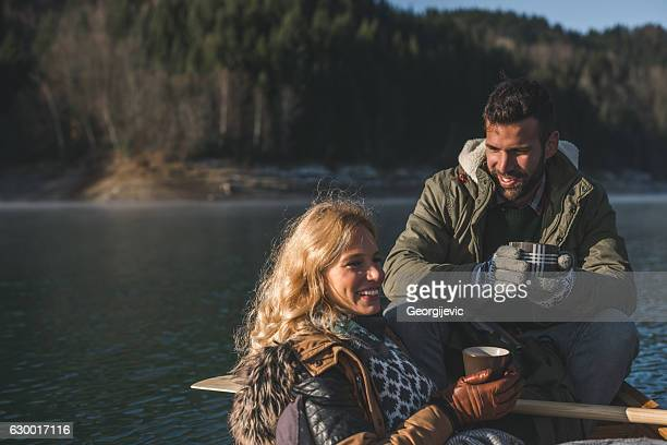 Romantic trip on a boat