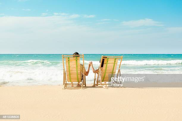 Romantic Vacationing Couple on Tropical Beach Paradise, Kauai, Hawaii Islands