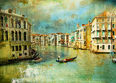 gondolas in greand canal. artistic picture in painting style