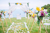 Romantic wedding ceremony on the lawn Sea view.