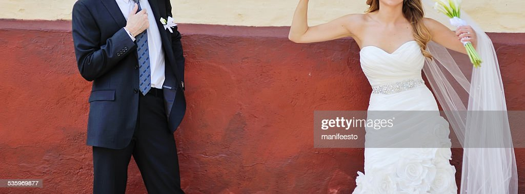 Romantic wedding couple together. : Stock Photo