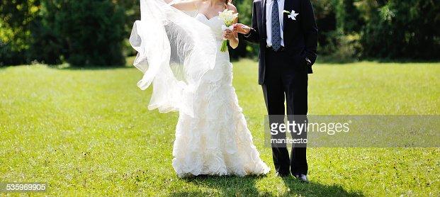 Romantic wedding couple together. : Stock Photo