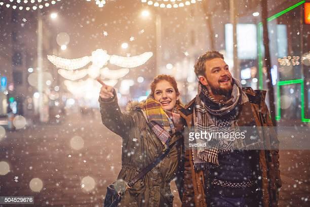 Romantic winter walk