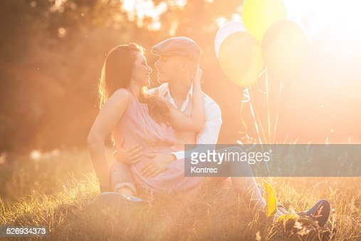 Romantic young couple on a sunny day outdoors