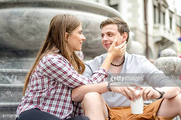 Romantic young couple sharing a special moment outdoors