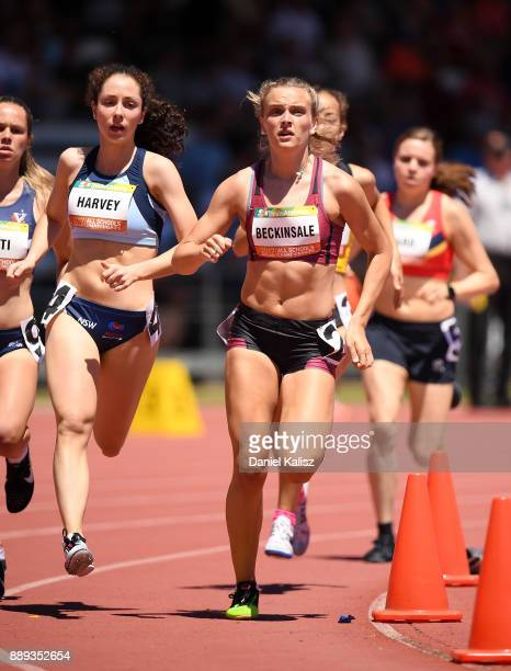 Romany Beckinsale of queensland competes in the girls 800 metre under 18 during the Australian All Schools Championship on December 10 2017 in...