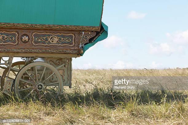 Romany gypsy caravan in field