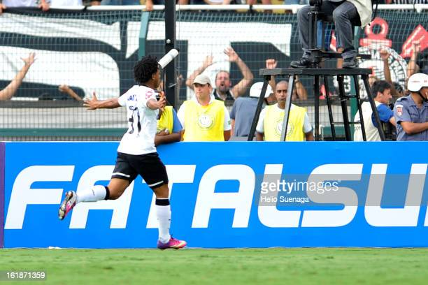 Romarinho of Corinthians celebrates a goal against Palmeiras during a match between Corinthians and Palmeiras as part of Paulista championship 2013...