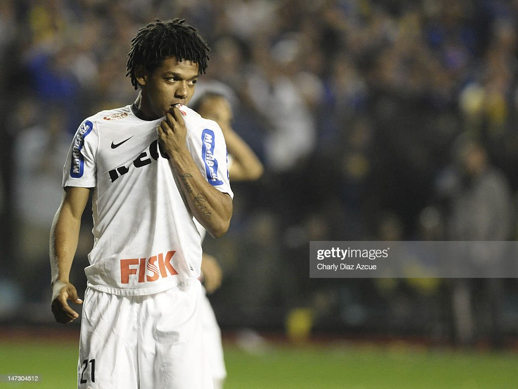 Romarinho of Corinthians celebrates a scored goal during a match between Boca Juniors and Corinthians as part of the first leg of the Libertadores Cup 2012 finals at the Bombonera Stadium on June 27, 2012 in Buenos Aires, Argentina.