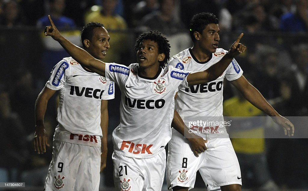 Romarinnho of Corinthians celebrates a scored goal during a match between Boca Juniors and Corinthians as part of the first leg of the Libertadores Cup 2012 finals at the Bombonera Stadium on June 27, 2012 in Buenos Aires, Argentina.